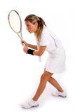 Vista laterale di giovane giocatore pronta a giocare tennis Immagine Stock