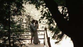 Vista laterale di giovani coppie felici che stanno sul bordo del pilastro dal lago in montagne e che abbracciano morbidamente Car archivi video