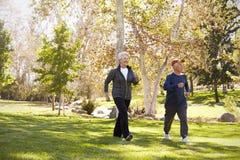 Vista laterale di potere senior delle coppie che cammina attraverso il parco immagini stock libere da diritti