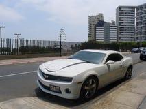 Vista laterale di un colore Chevrolet Camaro ss di bianco Fotografia Stock
