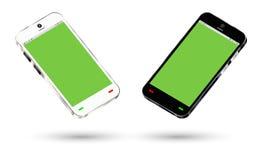 Vista laterale di uno smartphone con uno schermo verde Fotografia Stock