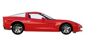 Vista laterale di uno sportscar americano rosso Fotografia Stock Libera da Diritti