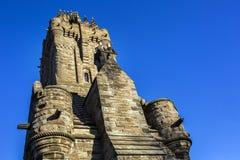 Vista laterale di Wallace Monument Landmark fotografie stock libere da diritti