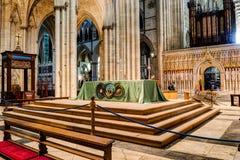 Vista laterale HDR dell'altare di York Minster Fotografia Stock