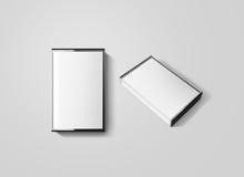 Vista laterale isolata, superiore ed in bianco del modello di progettazione della scatola del nastro a cassetta, fotografia stock libera da diritti