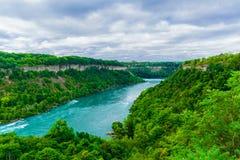 A vista lindo do rio de Niagara Falls com a torrente da água muda abruptamente o sentido imagem de stock