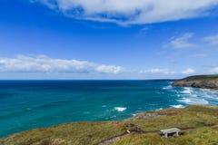Vista litoral de Mawgan Porth fotos de stock royalty free