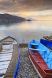Vista litoral de Ohrid, Macedônia imagens de stock