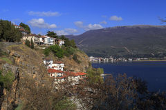 Vista litoral de Ohrid, Macedônia Fotos de Stock Royalty Free