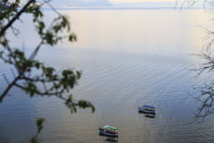 Vista litoral de Ohrid, Macedônia fotos de stock