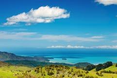Vista litoral, Nova Zelândia foto de stock