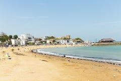 Vista litoral panor?mico larga da praia de Broadstairs em Kent, Inglaterra fotografia de stock