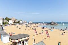 Vista litoral panor?mico larga da praia de Broadstairs em Kent, Inglaterra fotografia de stock royalty free
