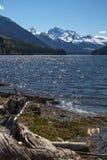 Vista lungo il lago Duffey, BC verso la montagna innevata di Cayoosh Fotografie Stock