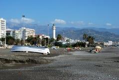Vista lungo la spiaggia di Torre Del Mar, Spagna Fotografia Stock Libera da Diritti