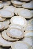 Vista macra de monedas turcas Foto de archivo