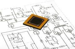Vista macro do processador central Foto de Stock Royalty Free