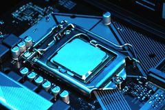 Vista macro do processador central, soquete, mem?ria no cart?o-matriz imagem de stock royalty free
