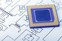 Vista macro dos pinos do processador central Fotografia de Stock