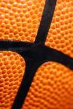 Vista a macroistruzione di pallacanestro di cuoio Fotografia Stock