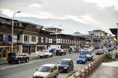 Vista magnífica de la ciudad de Paro en Bhután Fotos de archivo libres de regalías