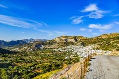 Vista magnífica del paisaje de la isla mediterránea Naxos en Grecia imagenes de archivo