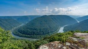 Vista magnífica o Grandview en la nueva garganta del río Imagen de archivo libre de regalías