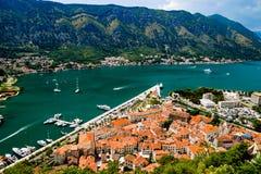 Vista magnifica della baia Montenegro di Cattaro Fotografia Stock
