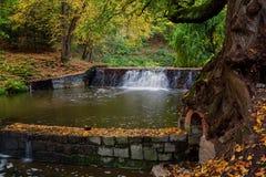 Vista majestosa da cascata no parque bonito czech europa Cena incomum dramática Mundo bonito Colorfull Imagem de Stock Royalty Free
