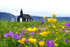 Vista maravilhosa da igreja de madeira preta fotografia de stock