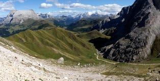 Vista maravilhosa das montanhas nas dolomites/no piatto/plattkofel do sasso Fotografia de Stock Royalty Free