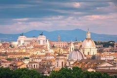 Vista meravigliosa aerea di Roma al tramonto, Italia Fotografia Stock Libera da Diritti