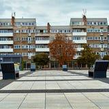 Vista moderna agradable del cuadrado de Nowy Targ en la ciudad vieja de Wroclaw Wroclaw es la ciudad más grande de Polonia occide Foto de archivo