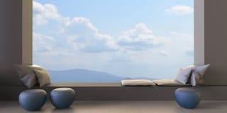 Vista moderna del cielo e dei saloni illustrazione vettoriale