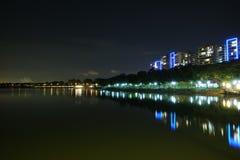 Vista moderna di lungomare delle costruzioni, Singapore Fotografie Stock