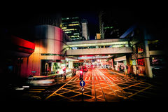 Vista moderna di notte dell'estratto della città Hon Kong fotografia stock libera da diritti