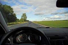 Vista montada en el coche de la autopista sin peaje Foto de archivo
