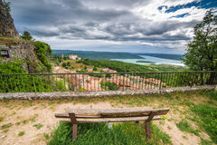 Vista na cidade Aiguines Fotografia de Stock Royalty Free