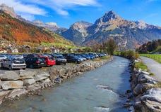 Vista na cidade de Engelberg em Suíça Foto de Stock