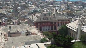 Vista na cidade de Genoa e no porto vídeos de arquivo