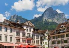 Vista na cidade de Schwyz, Suíça Foto de Stock Royalty Free