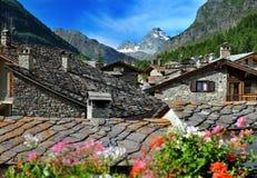 Vista na cidade velha Rhemes Notre Dame, d'Aosta de Valle, Itália Imagem de Stock Royalty Free