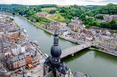 Vista na citadela de Dinant em Bélgica imagem de stock royalty free