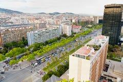 Vista na diagonal da avenida em Barcelona Foto de Stock Royalty Free