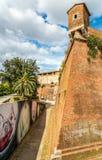 Vista na fortificação velha da cidade em Grosseto - Itália foto de stock