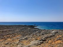 Vista na ilha de Kythera, ao lado da vila de Avlemonas Imagem de Stock