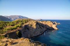 Vista na ilha de Telendos Imagem de Stock