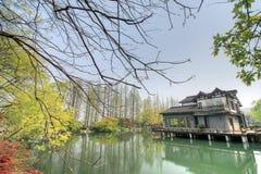 Vista na paisagem cultural do lago ocidental de Hangzhou Fotografia de Stock Royalty Free