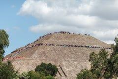 Vista na parte superior do piramyd do sol Teotihuacan, Cidade do México Imagem de Stock