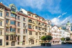 Vista na praça da cidade de Innsbruck - Áustria Fotografia de Stock Royalty Free